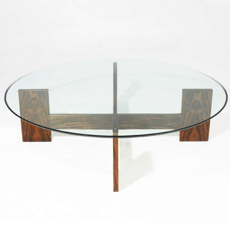 Brazilian rosewood coffee table with round glass top for for Round glass coffee tables for sale