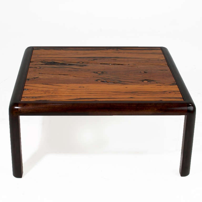 Square Brazilian Ipe Coffee Table Made From Reclaimed Railroad Planks