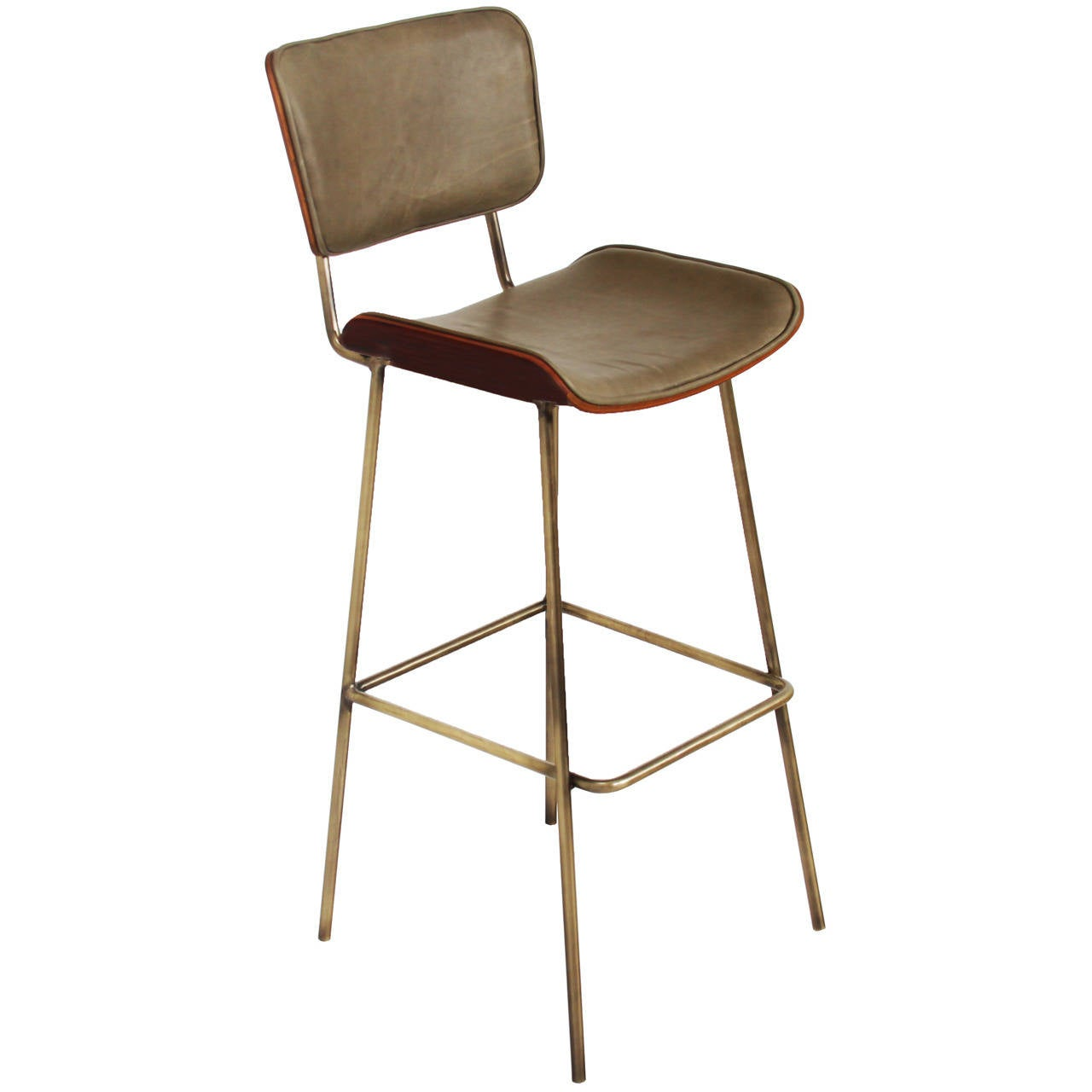 Cojo Bar Stool in Brass and Rosewood by Thomas Hayes Studio