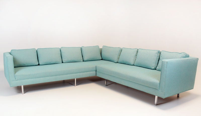 Vintage Sectional Sofa With Blue Fabric At 1stdibs