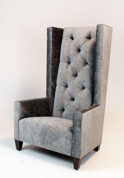 Single High Back Tufted Gray Silk Velvet Chair At 1stdibs