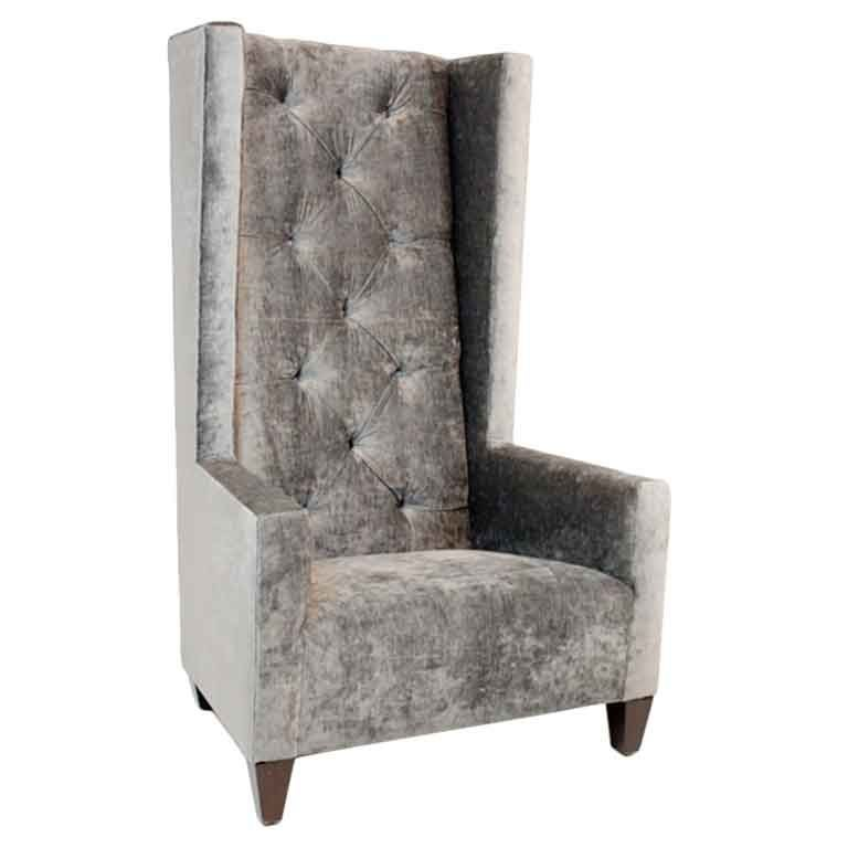 Single High Back Tufted Gray Silk Velvet Chair For