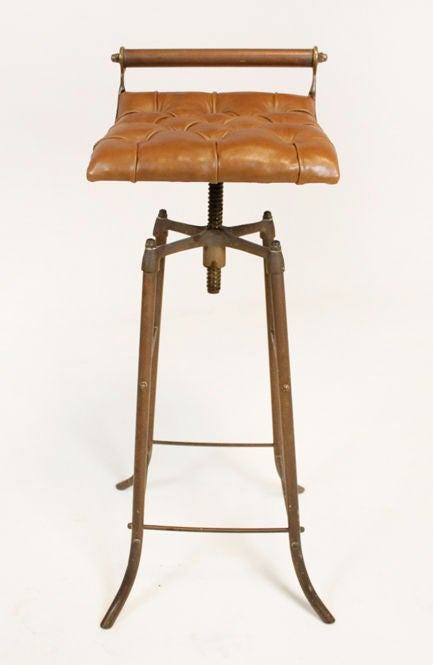 Set Of 3 Bronze And Tufted Leather Bar Stools From Brazil