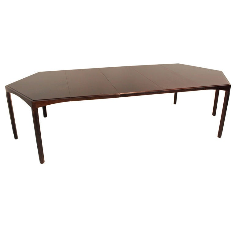 Large walnut dining table with three leaves at 1stdibs for Large kitchen tables with leaves