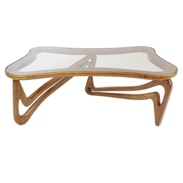 Taky Curved Glass Coffee Table: Curved Solid Caviuna And Glass Coffee Table Scapinelli