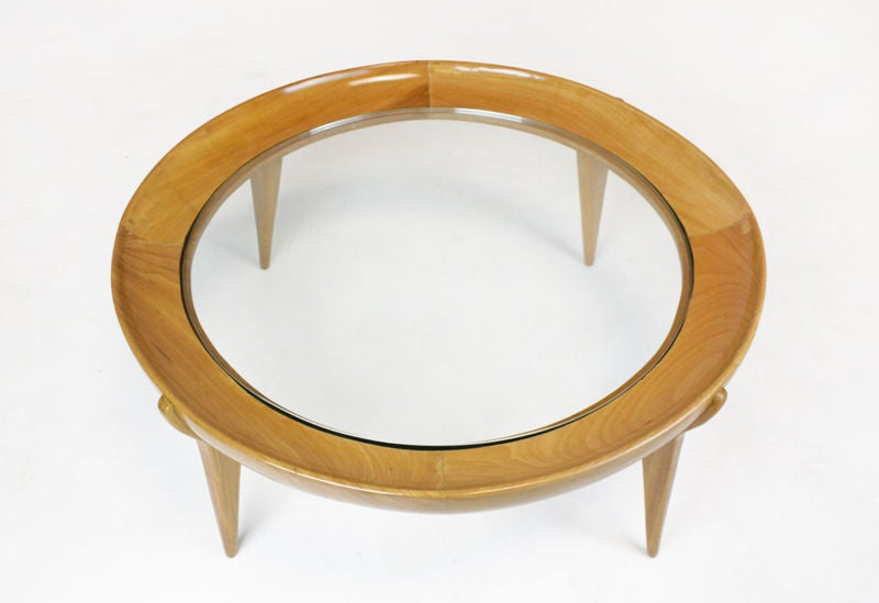 Round Solid Caviuna And Glass Coffee Table By Scapinelli At 1stdibs