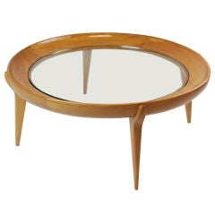 Round Solid Caviuna and Glass Coffee Table by Scapinelli