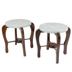 Pair of Solid Sculptural Brazilian Rosewood and Granite Side Tables