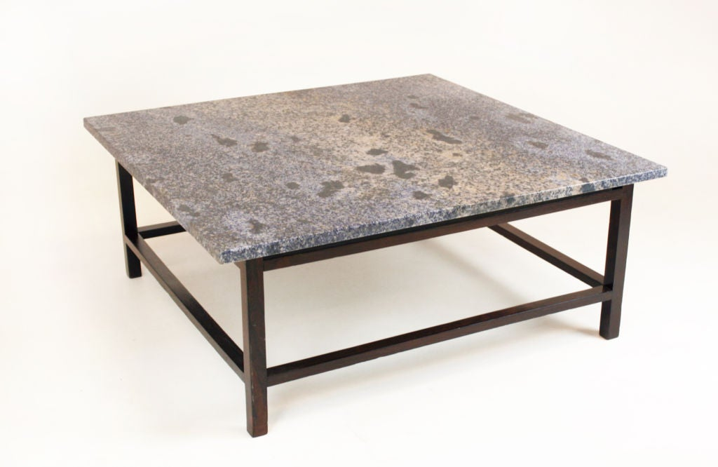 ocean blue granite and rosewood coffee table at 1stdibs