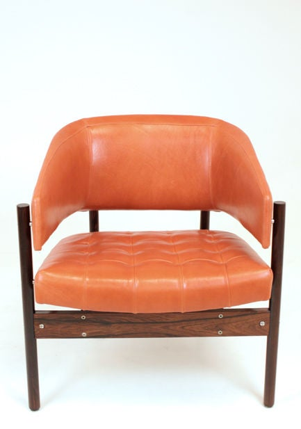 Set of Rosewood & leather arm chairs by Jorge Zalszupin image 3