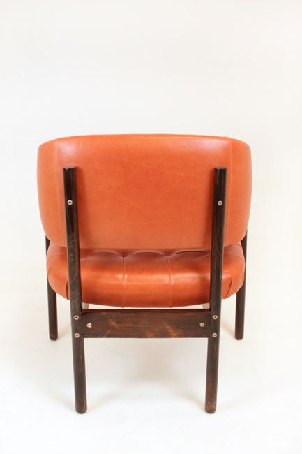 Set of Rosewood & leather arm chairs by Jorge Zalszupin image 6