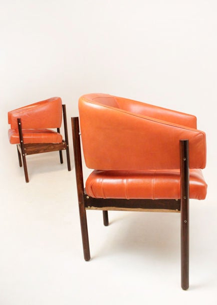 Set of Rosewood & leather arm chairs by Jorge Zalszupin image 2