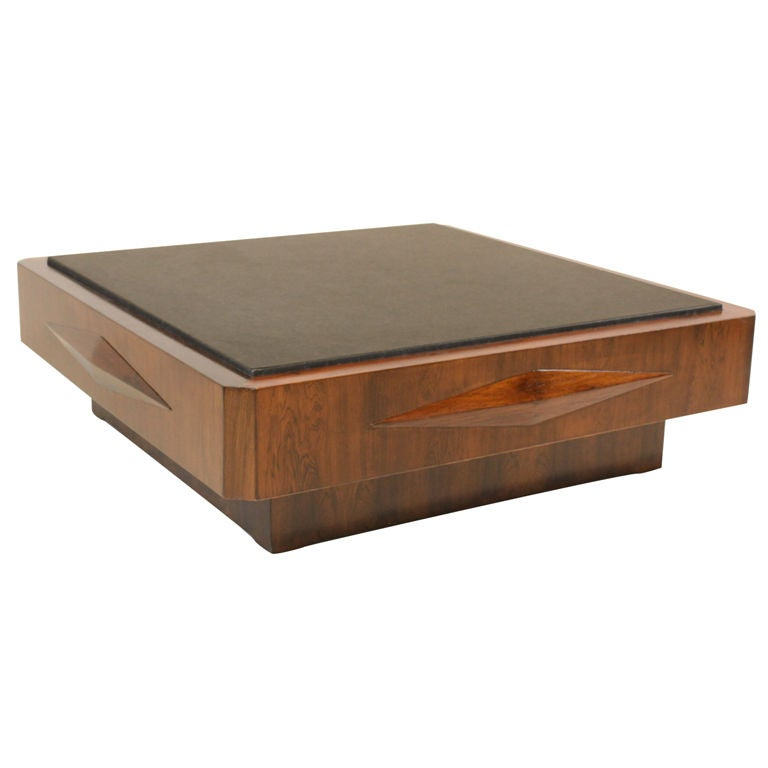 Rosewood Coffee Table by Jorge Zalszupin with Granite Top