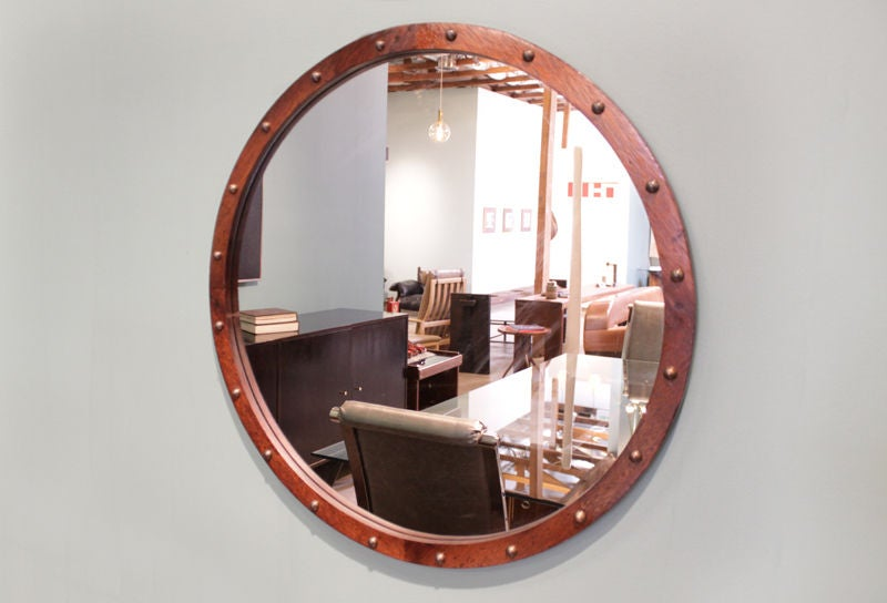 Bronze Wall Mirror: Round Brazilian Exotic Wood Mirror With Patinated Bronze