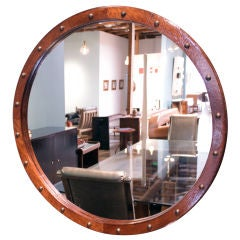 Round Brazilian Baruna Wood Mirror with Antique Bronze Details