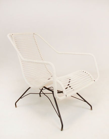 Brazilian Pair of iron and cord curved seat lounge chairs by Martin Eisler For Sale