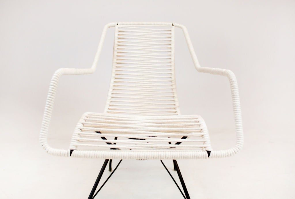 Mid-20th Century Pair of iron and cord curved seat lounge chairs by Martin Eisler For Sale