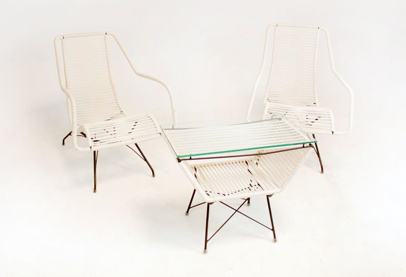 Pair of iron and cord curved seat lounge chairs by Martin Eisler For Sale 4