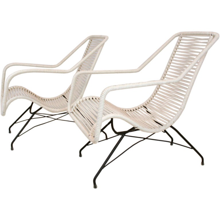 Pair of iron and cord curved seat lounge chairs by Martin Eisler For Sale