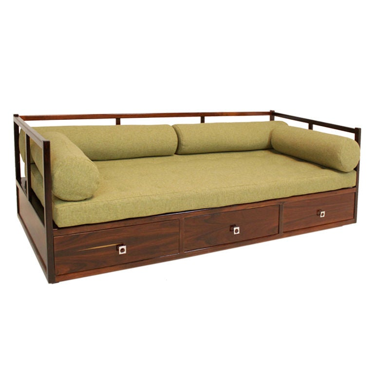 rosewood daybed with drawers from brazil at 1stdibs. Black Bedroom Furniture Sets. Home Design Ideas