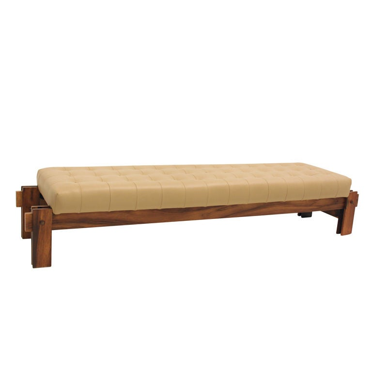 Cantilievered Rosewood And Leather Tufted Bench From Brazil At 1stdibs