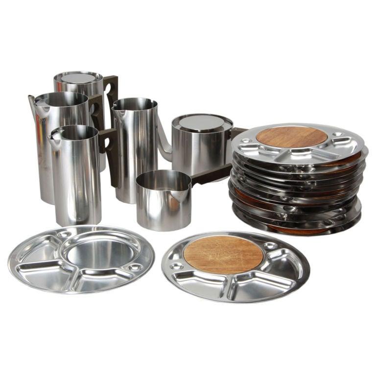 stainless steel serving set by arne jacobsen for stelton at 1stdibs. Black Bedroom Furniture Sets. Home Design Ideas