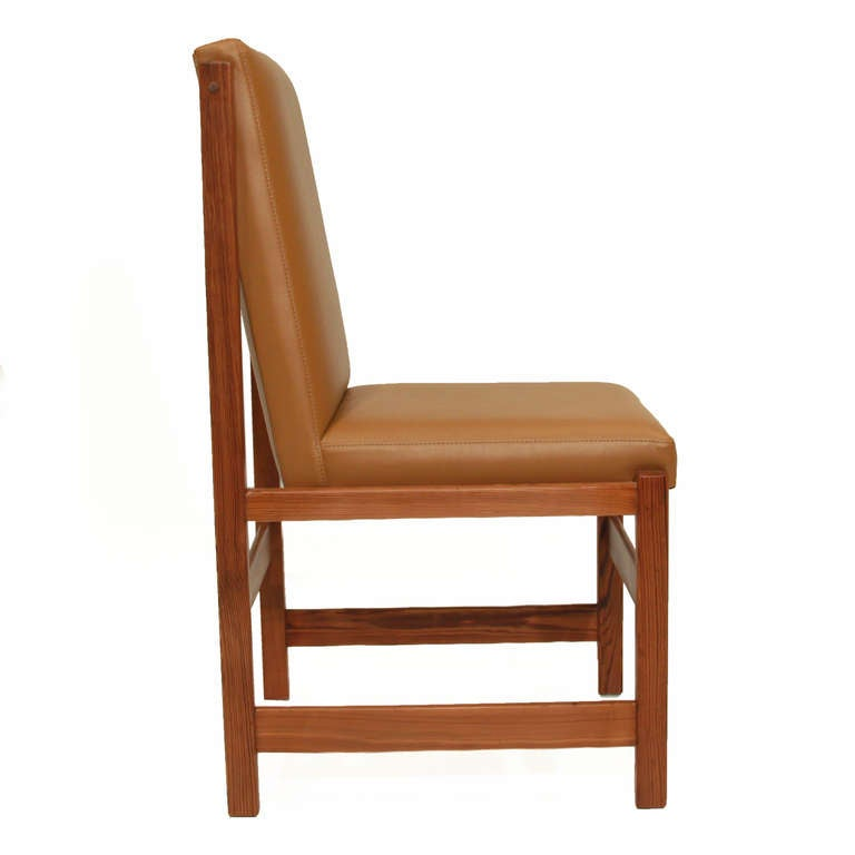 Set of 10 pinho de riga and caramel leather dining chairs for Furniture in riga