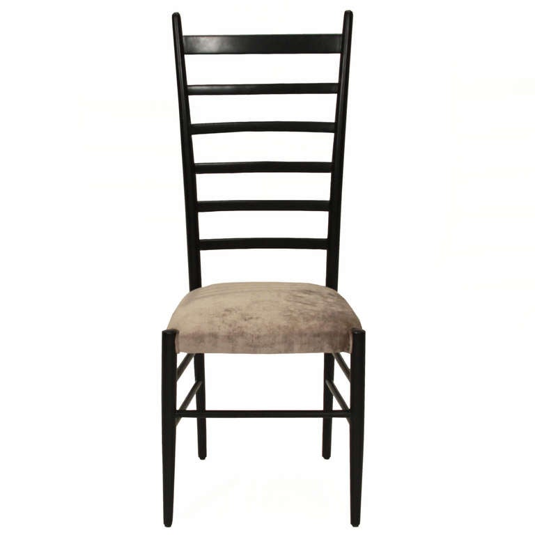 Set of six italian ladder back and silver silk mohair dining chairs at 1stdibs - Ladder back dining room chairs ...