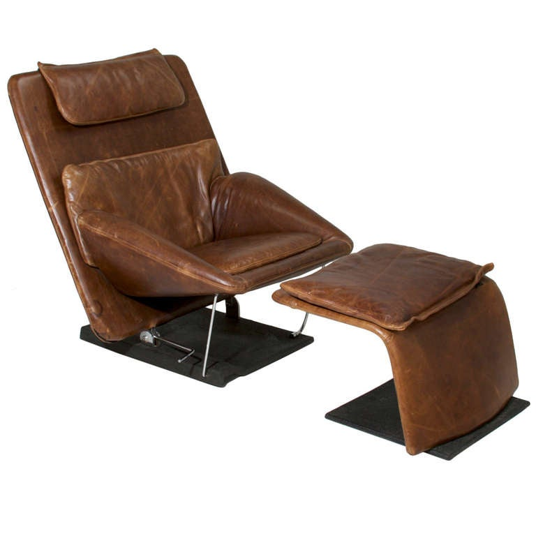 Saporiti Distressed Brown Leather Chair And Ottoman 1 - Saporiti Distressed Brown Leather Chair And Ottoman At 1stdibs