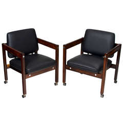 "Pair of Sergio Rodrigues ""Kiko"" Rosewood Armchairs"