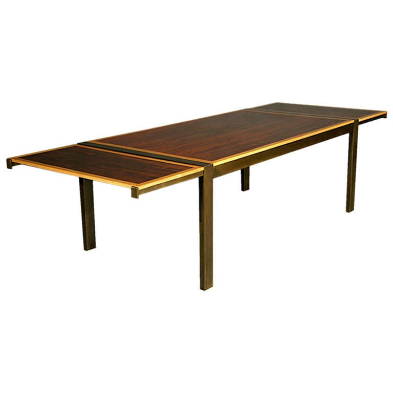 Rosewood oak and bronze dining table by thomas hayes