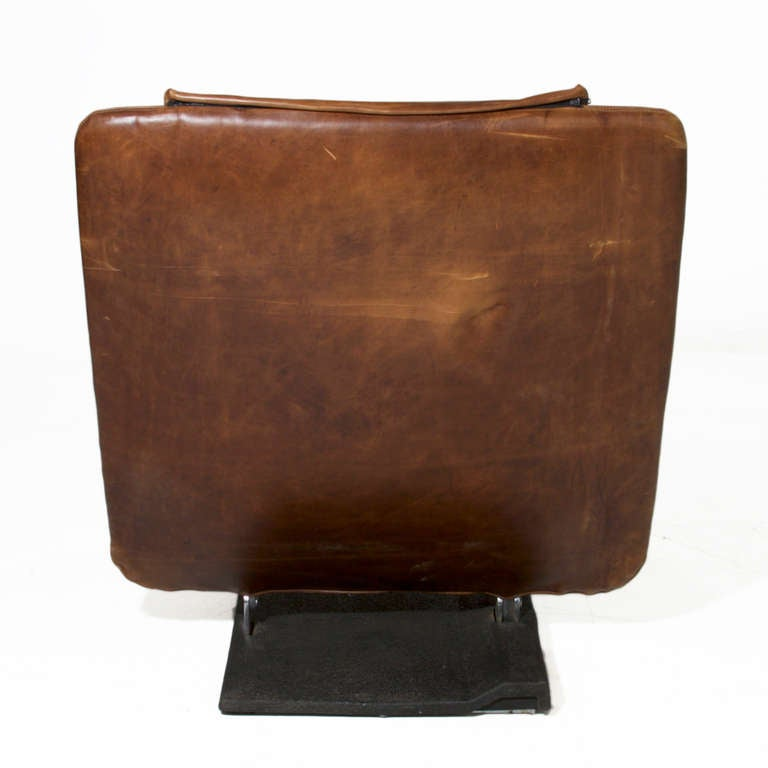 Saporiti Distressed Brown Leather Chair And Ottoman In Good Condition For Hollywood Ca