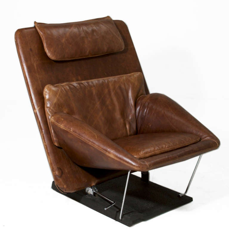saporiti distressed brown leather chair and ottoman at 1stdibs