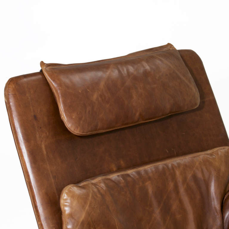 Onda Chair And Ottoman In Missoni Fabric By Giovanni: Saporiti Distressed Brown Leather Chair And Ottoman At 1stdibs