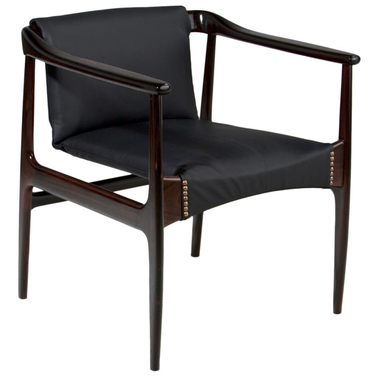 this single brazilian rosewood leather lounge chair is no longer