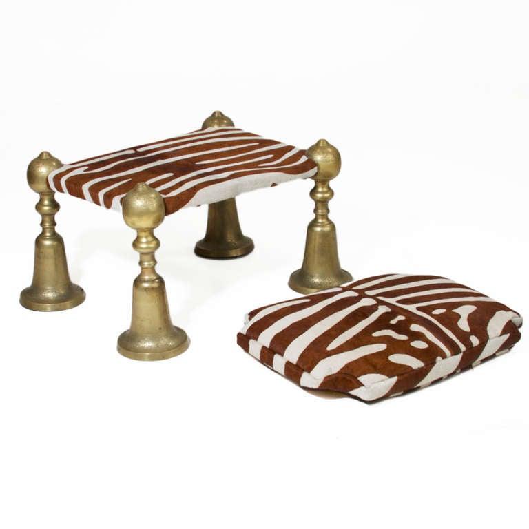 Solid Moroccan Brass Zebra Foot Stool At 1stdibs