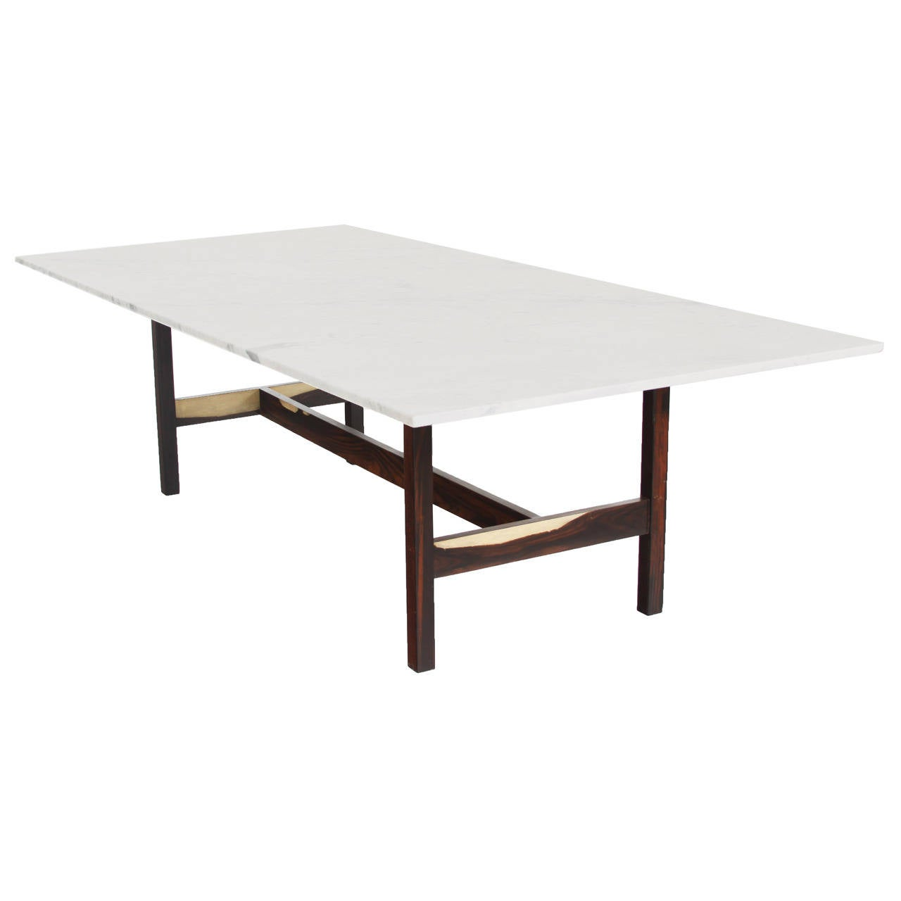 Brazilian rosewood dining table with carrara marble top for Mauble furniture