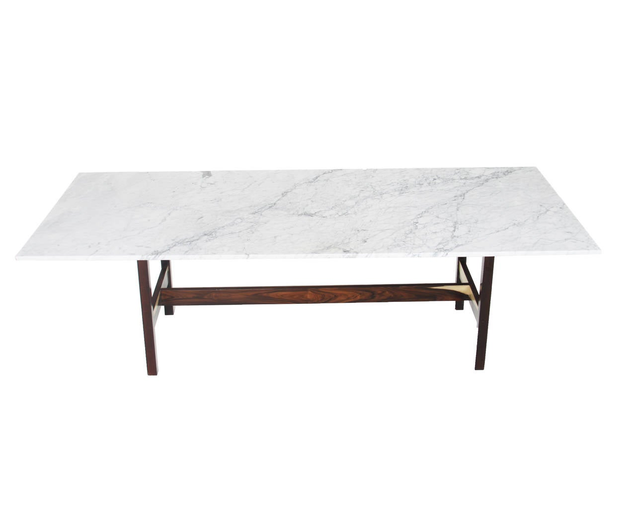 Brazilian Rosewood Dining Table With Carrara Marble Top At