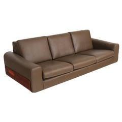 Tendo Brasileira Rosewood and Leather Sofa