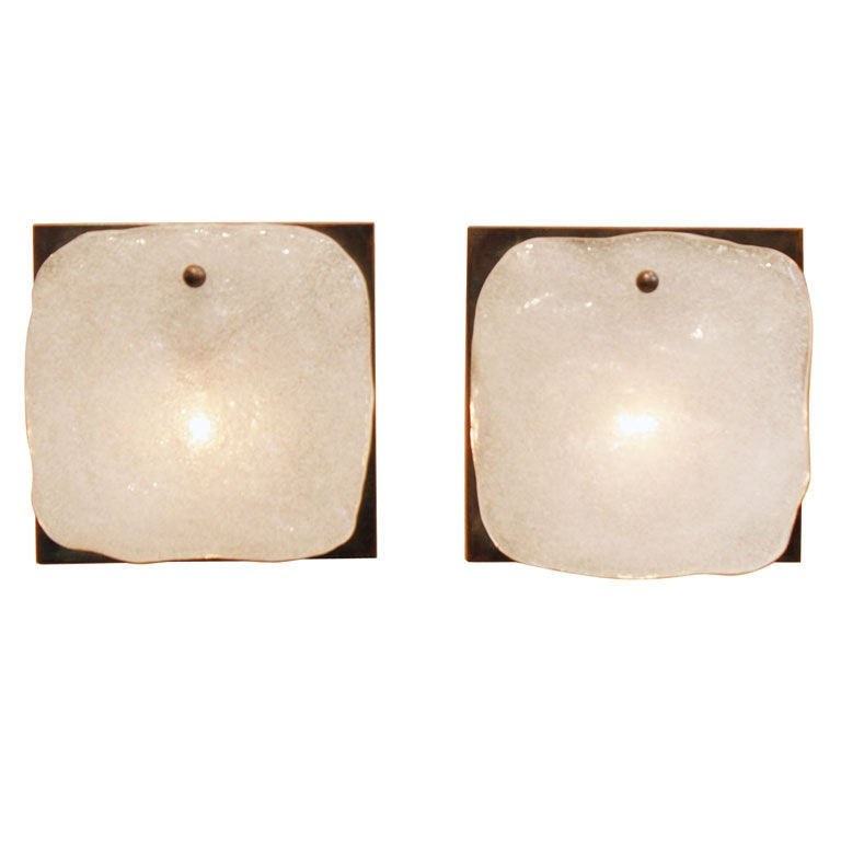 Wall Sconce Frosted Glass : Bronze and frosted glass sconces by Kalmar at 1stdibs