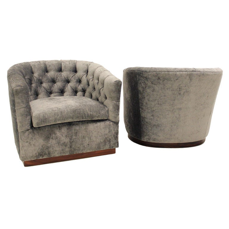 Milo Baughman silver silk velvet button tufted lounge chairs at 1stdibs