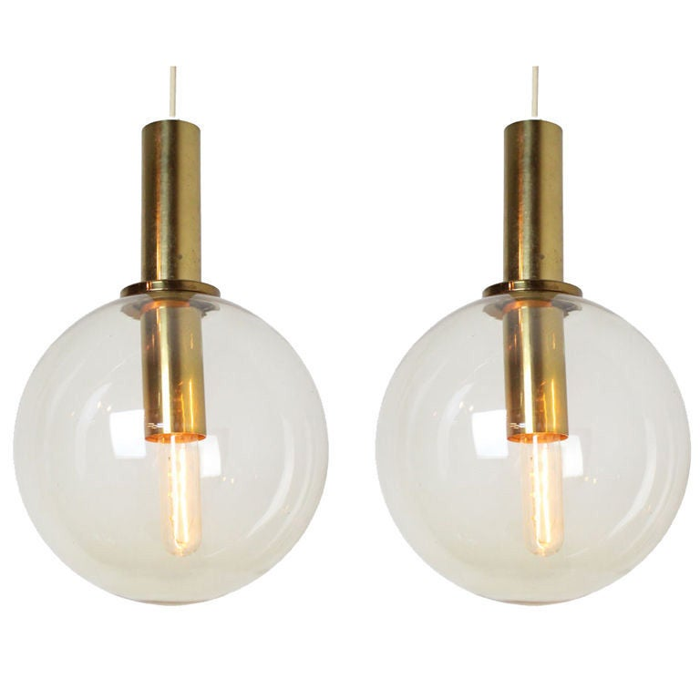 pair of brass and glass globe pendants from sweden at 1stdibs