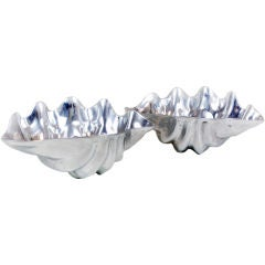 Pair of Solid Aluminum Large Clamshell Serving Bowls