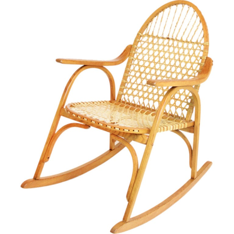 Attractive Snowshoe Oak Rocking Chair With Rawhide Lacing By Vermont Tubbs 1