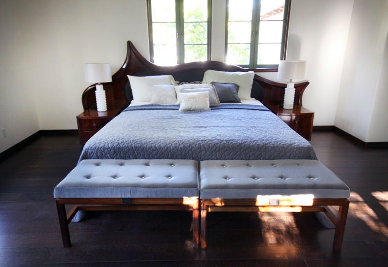Solid walnut king bed frame with night stands by Ray Leach For Sale 3