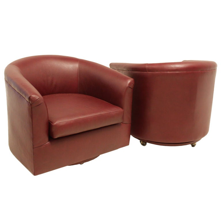 milo baughman pair of leather rolling swivel tub chairs at