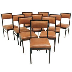 Set of 10 solid Brazilian Rosewood dining chairs by Celina Moveis