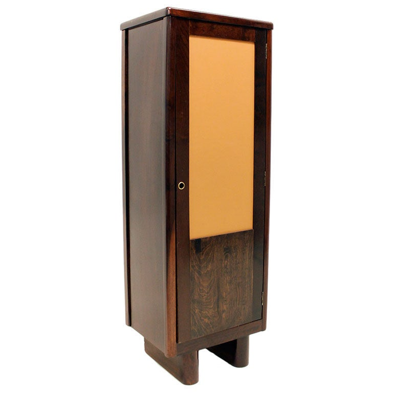 Baruna wood locker with inset leather door by joaquim for Wood lockers with doors