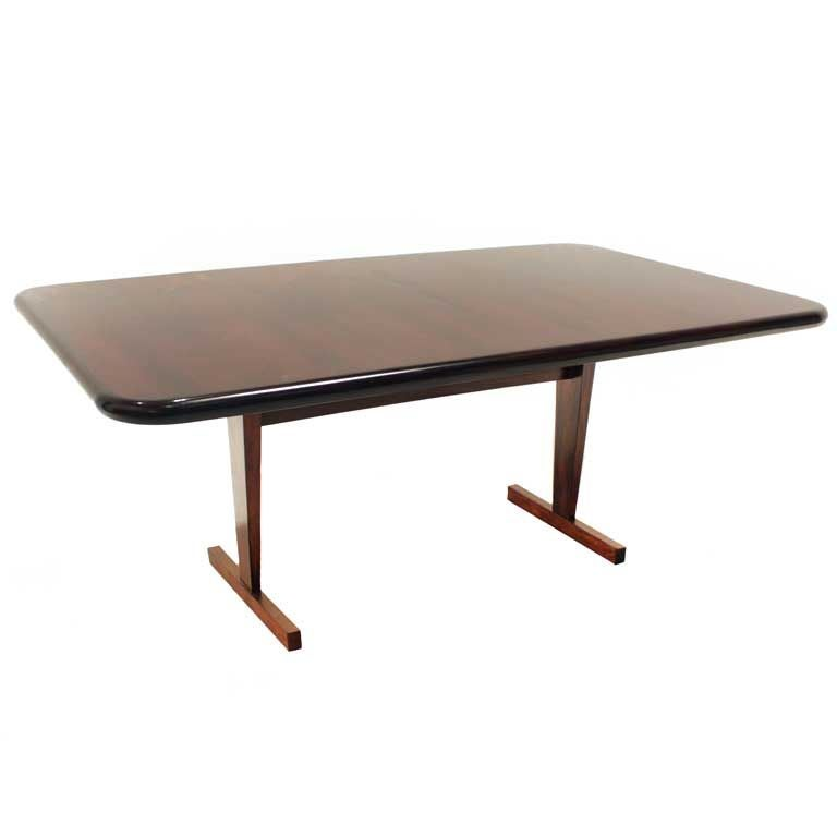 Rosewood Dining Table With Angled Feet And Rounded Corners For