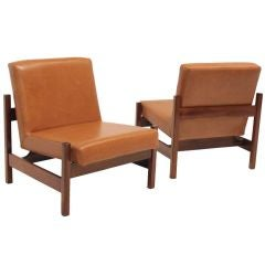 Pair of Knoll Peroba and Leather Lounge Chairs for Forma Brazil